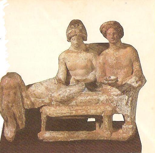 Ελληνική τερρακόττα του 3ου πΧ αιώνα (οι αρχαίοι Έλληνες δειπνούσαν ξαπλωμ�νοι σε ανάκλιντρα)